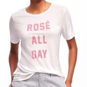 Old Navy Rose All Day Wine Graphic Tee Size Small